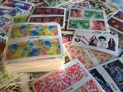 Slide Sheets - 50 Sheets Nail Art Decal Stickers Water Slide Tattoo Transfer Random Full Size
