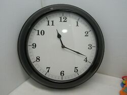 15 Black Metal Frame Wall Clock with White Face