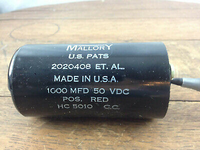 Nos - Mallory Capacitor Hc5010 1000 Mfd 50 Vdc Wh-15