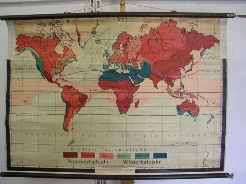 Wall Map Jahreszeitliche Distribution Der Niederschläge World 109x76 Vintage~