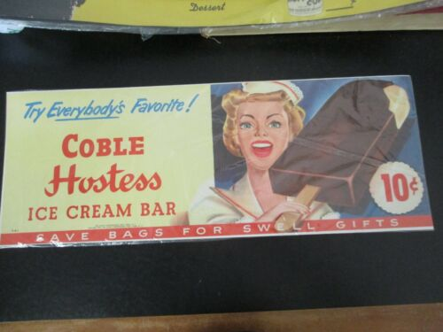 RARE & Original 1952 Advertising Store Display POSTER Coble Hostess Ice Cream