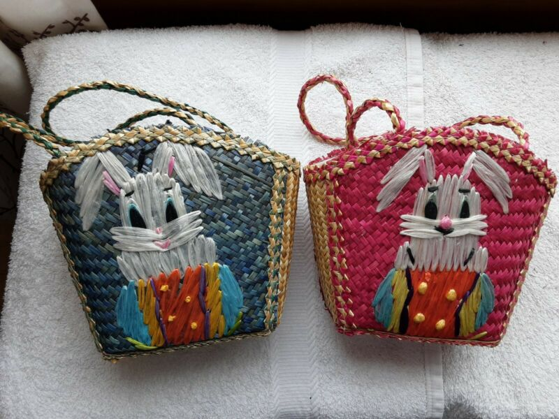 2 VINTAGE BLUE & PINK WOVEN STRAW CHILD BUNNY EASTER BASKET WITH HANDLES