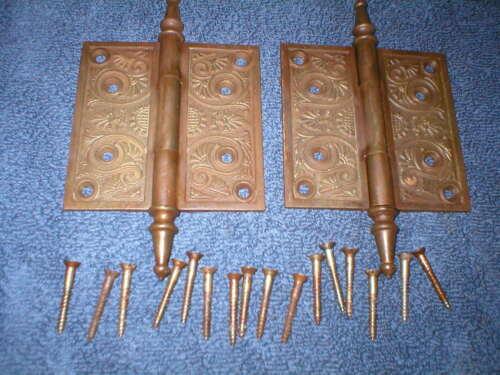 """Antique Victorian 4 1/2"""" decorative Cast Iron Door Hinge Pair With Screws"""