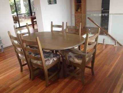 French Polished (grey) Tasmanian Oak Dining Table; 6 Chairs