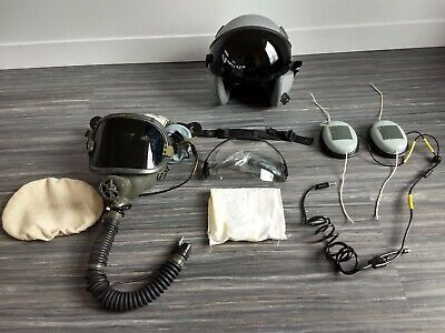 Gentex Jet Fighter Pilot Helmet Oxygen Mask Long headphones extras set - Fighter Pilot Helmet
