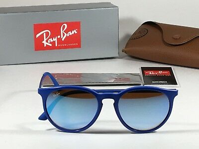 Authentic Ray-Ban Round Erika Wayfarer Sunglasses Metal Blue Mirror Flash (Rounded Wayfarer)