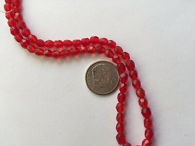 "2 14.5"" Strands (160 Beads) Bright Red 4X5mm Faceted Oval Glass Beads"