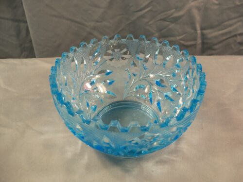 Westmoreland Blue Glass Wildflower & Lace Finger Bowl Fireball Bottom