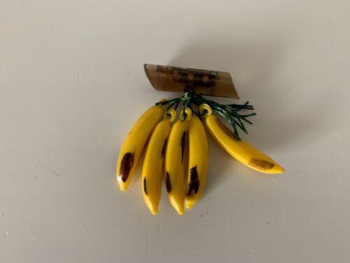 Vintage 1940s Bakelite Banana Brooch Pin Original Green String