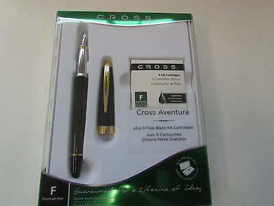 NEW Cross Aventura Fountain Pen Black W/ Gold Accents 6 Black Ink Cart. INCLUDED
