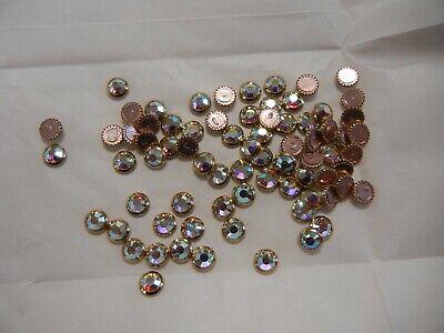 36 swarovski gold ringed rose hot-fix flatbacks,34ss crystal AB #2039