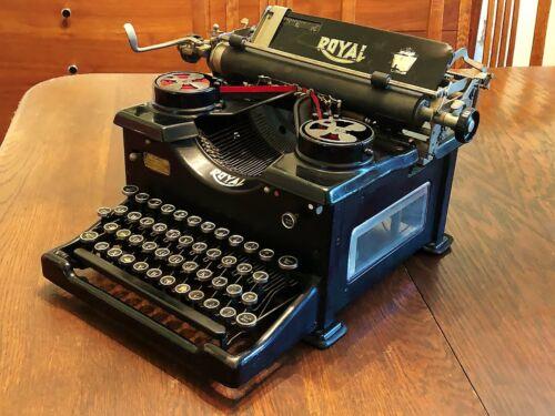 NICE Antique 1929 Royal 10 Typewriter QX Serial 1284641 Dual Beveled Glass Sides