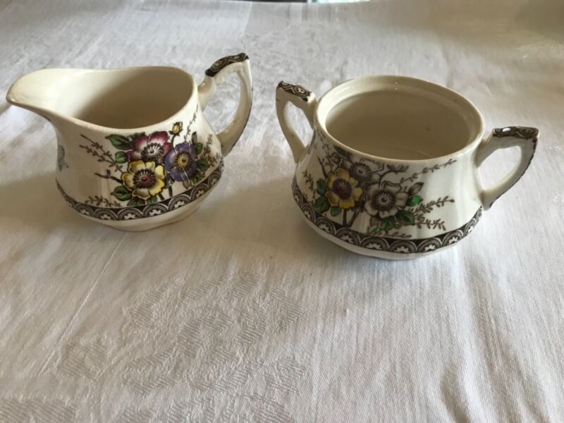 Alfred Meakin Medway Creamer and Sugar Bowl