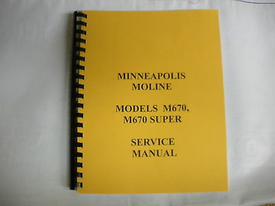 Minneapolis Moline M670 M670 Super Service Manual New Free Shipping