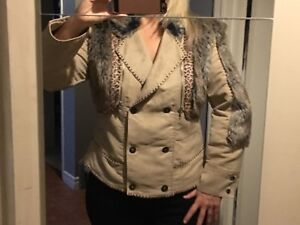 Brown and beige faux suede/faux fur jacket