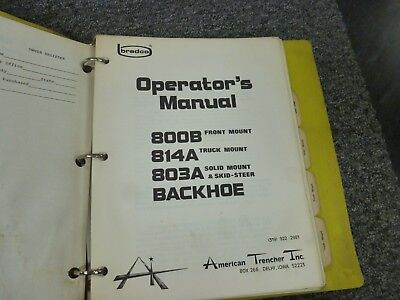 American Trencher 800b 814a 803a Backhoe Owner Operator Maintenance Manual