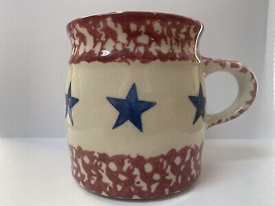 Roseville  Spongeware Mug Workshops of Gerald E. Henn Red White and Blue Star