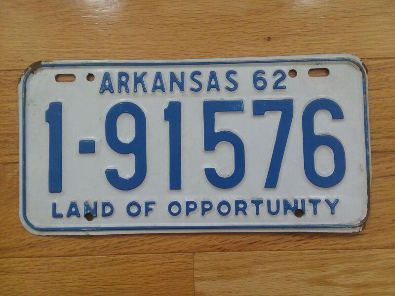 Arkansas 1962  License Plate