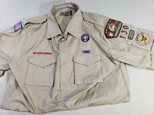 NICE BSA BOY SCOUTS OF AMERICA UNIFORM SHORT SLEEVE  SHIRT MENS M PATCHES