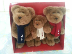 Set of 3 Authentic RALPH LAUREN Plush Teddy Bears with POLO Scarves NEW IN BOX