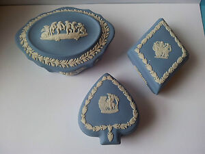 3 WEDGWOOD JASPER WARE TRINKET BOXES - DIAMOND, SPADE + OTHER
