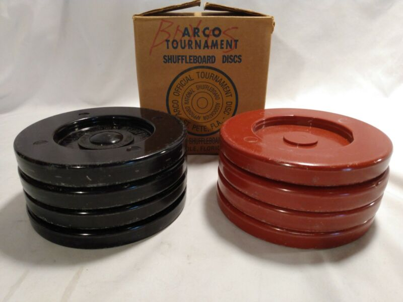 Vintage 8 Arco Tournament Shuffleboard Discs Red and Black