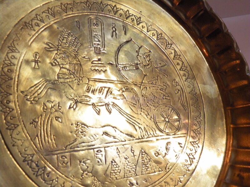 AIA414 BRASS ANCIENT EGYPT REPRODUCTION  TRAY, engraved chariot & horse design