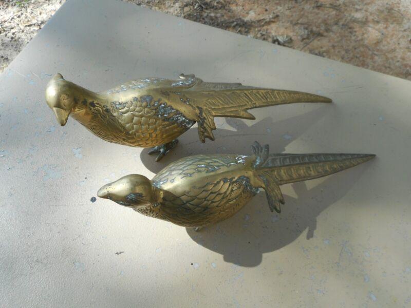 Pair / 2 Vintage Brass Pheasant Andrea by Sadek Birds Figures