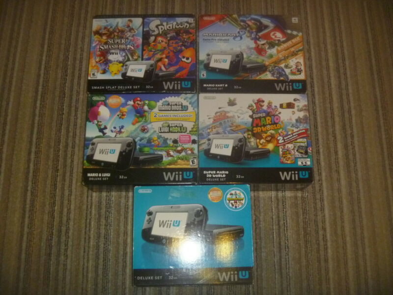 Lot Of 5 Nintendo Wii U Console (Empty Box) Mario Bros Kart 8 Smash Splat World