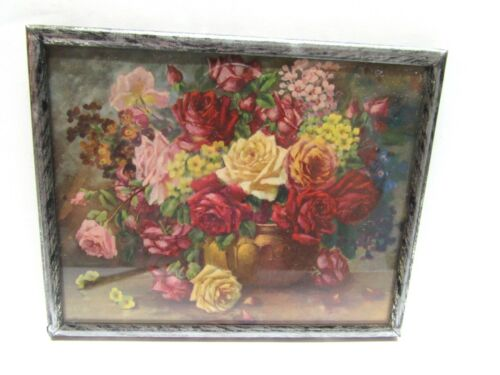 ANTIQUE GERMANY CHIMNEY FLUE COVER ROSES RECTANGLE 4x5 METAL FRAME
