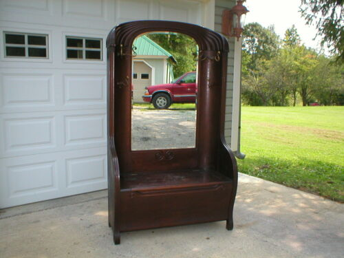 ANTIQUE CIRCA 1900 OAK HALL BENCH STAND WITH BEVELED MIRROR, ALL ORIGINAL SUPER