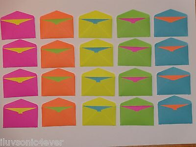 20 neon bright mini envelopes and 20 matching color fold up cards