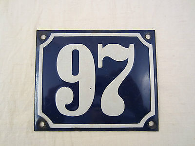 EMAIL EMAILLE EMAILLIERT HAUSNUMMER NUMMER METALL SCHILD 97 Siebenundneunzig 9 7