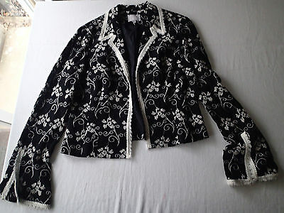 ALBERTO MAKALI  blazer SZ 14 ,black white FLORAL,WOOL BLEND LIGHTWEIGHT GN