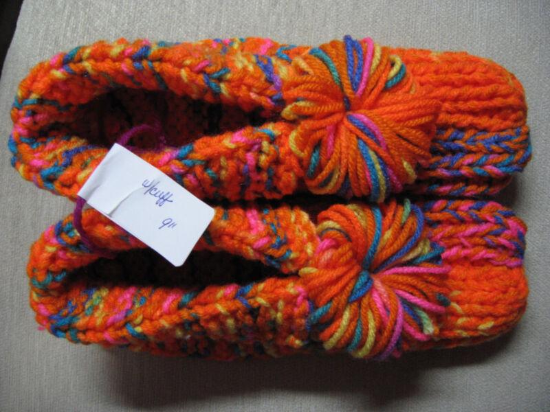 "New Handmade Slippers w/Cuffs & Pompoms Bright Orange Mix Mens Sm Wms Med 9"""