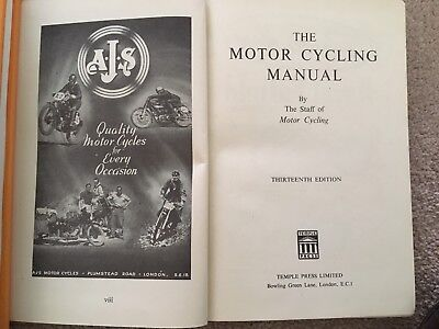'The Motor -Cycling Manual from 1948/49 great adverts 13th edition