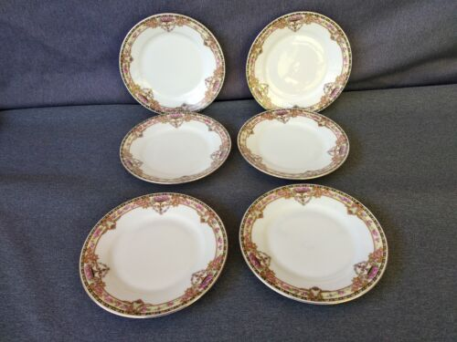 "Vintage Victoria China Czechoslovakia 7 1/2"" Salad Plates - Set of 6"