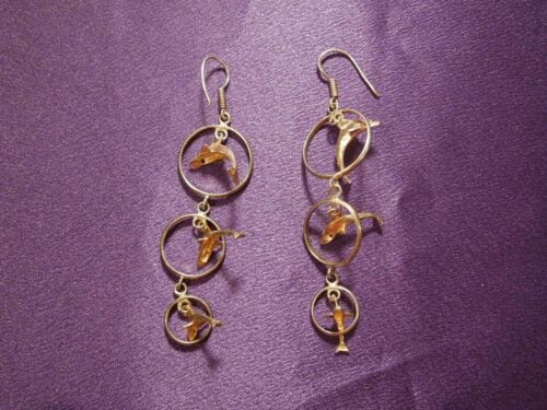 Vintage Set of 3 Dolphin Family Jumping Thru Hoops Dangling Silver Tone Earrings