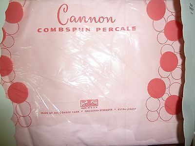 Vintage Cannon Cotton Pink Twin Top Sheet with Fitted Bottom, NOS