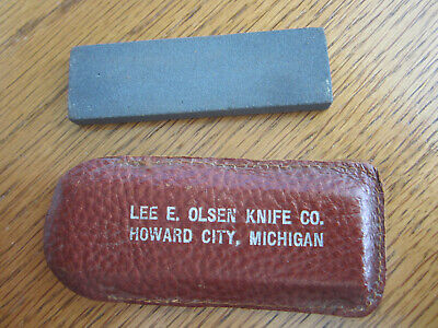 Rare Olsen Knife Co, HC, MICH Advertising Pocket Sharpening Stone by Carborundum