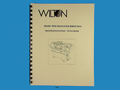 Wilton Model 7014 Horizontal Band Saw Operator Parts List 331