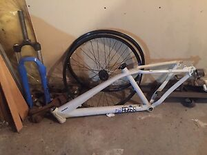 Giant brass 1 frame, forks, and wheels