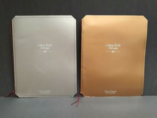 Cathay Pacific Airways Vintage 1985 First Class Menus Signed By Crew Set Of 2