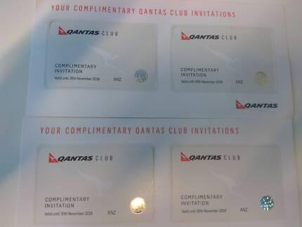 4 X Qantas lounge passes expiring November 2018
