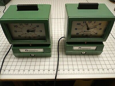 Lot Of 2 Acroprint Heavy Duty Manual Time Recorder Time Clock 125nr4 Key Cards