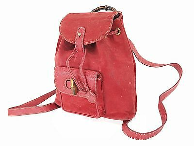 Authentic GUCCI Red Suede Leather and Bamboo Handle Mini Backpack #25635