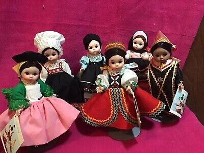 "Lot 6 Vintage Madame Alexander Dolls 8"" International Collection In Original Box"