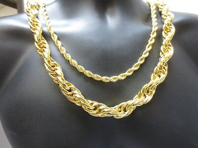 14KT GOLD PLATED HIP HOP 7MM TO 16MM ROPE CHAIN  BLING NECKLACE 24