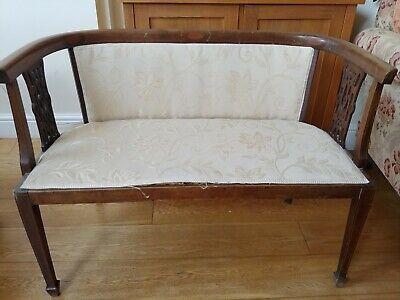 Edwardian (c1905) - Antique Inlaid Mahogany Settle Couch Seat needs bit tlc