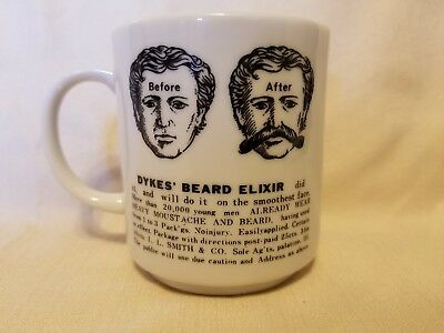Vintage Dyke's Beard Elixir Coffee Cup Mug Milk Glass Advertisement Hair Growth